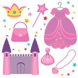 Princess set. A cute collection of princess attributes Stock Photography