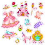 Princess set. Collection of items related to princesses Royalty Free Stock Photos