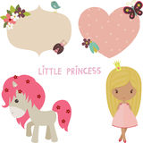 Princess set. Cute princess with unicorn and decorated stickers for girls Royalty Free Stock Photography