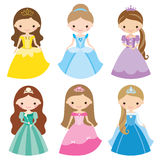 Princess Set. Illustration of princess in different costumes Royalty Free Stock Photo