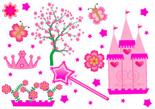 Princess Set. Pink Colors Isolated Stock Images
