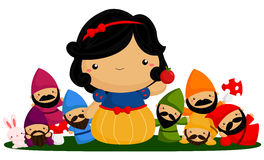 Princess and seven dwarf Royalty Free Stock Images