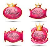 Princess shining symbols set. Princess pink badges collection with gold crown and brilliants Royalty Free Stock Photo