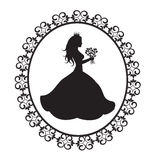 Princess silhouette with flowers in vintage frame Stock Photos