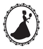 Princess silhouette in the frame. Silhouette of a princess crown and a long dress in a patterned frame royalty free illustration