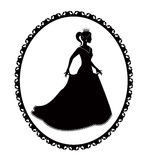 Princess silhouette in long dress and retro frame Stock Images