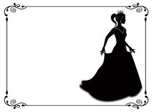 Princess silhouette in long dress and retro frame Stock Photos