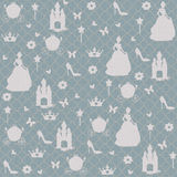 Princess Silhouette. White silhouette of princess on seamless pattern Stock Images