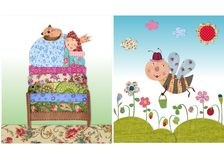 Princess sleeping, and bee. Colorful graphic illustration. Quilt design Stock Photo