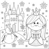 Princess in the snow with a castle and a snowman. Coloring book page. Vector illustration of a pretty fairy princess in a snowy winter landscape with a castle Stock Photo