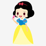 Princess Snow White. Doll . Fairy tale character. Girl in a dress. With little bird. Royalty Free Stock Image