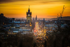 Princess street and Balmoral tower, sunset time. Photography of Princess street and Balmoral tower at night, view from Calton Hill, Scotland, UK stock image