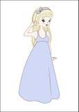 Princess in summer dress blonde. The princess girl in a blue summer dress blonde Stock Photo