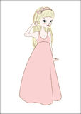 Princess in summer dress blonde. The princess girl in a pink summer dress blonde Stock Photography