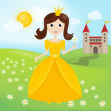 Princess of Sunny kingdom. With castle on meadow vector illustration