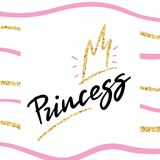 Princess t-shirt background with glitter crown in girlish style for modern apparel. Vector print design vector illustration