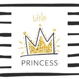 Princess t-shirt background with glitter crown in girlish style for modern apparel. Vector print design.  royalty free illustration