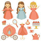 Princess tea party. A cute collection of beautiful princesses and tea party elements Stock Image