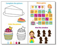 Princess theme activity page for kids. Educational game set. For children. Fun for toddlers and pre school age royalty free illustration