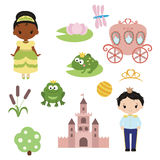Princess theme with castle, frog prince, carriage Royalty Free Stock Photography