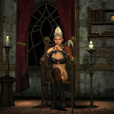 Princess on a throne. 3D rendering of a princess on a throne in the candlelight Royalty Free Stock Images