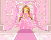 Princess on the throne. Charming Princess sits on a throne in the pink hall Royalty Free Stock Images