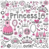 Princess tiara królewskości Doodles wektoru Szkicowy set Obrazy Stock