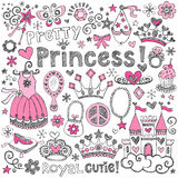 Princess Tiara Royalty Sketchy Doodles Vector Set. Hand-Drawn Sketchy Fairy Tale Pretty Princess Notebook Doodle Design Elements Set with Tiara, Crown, Tutu Stock Images