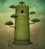 Princess Tower. Fairy tale illustration or  postcard with  tower and trees. computer graphics Royalty Free Stock Photo