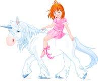 Princess on unicorn stock photo
