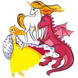 Princess, unicorn, dragon Stock Photos