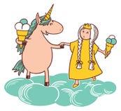 Princess and unicorn Stock Photo
