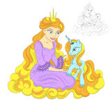 Princess and Unicorn. On a golden cloud Royalty Free Stock Photos