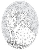 The Princess and the unicorn Royalty Free Stock Images