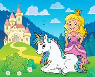Princess and unicorn near castle theme 1. Eps10 vector illustration stock illustration