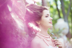 Princess in an vintage dress in nature Royalty Free Stock Photos
