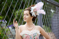 Princess in an vintage dress in nature Stock Photography
