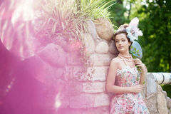Princess in an vintage dress in nature Royalty Free Stock Images
