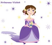 Princess Violet with flowers, stars and shadow Stock Photo