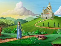 Faity tales castle and princess. Princess walking on a path crossing a fantasy landscape. Digital illustration Royalty Free Stock Photos