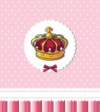 Princess was born! – cute pink crown card Stock Image