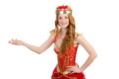 The princess wearing crown and red dress isolated Stock Photography