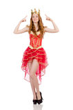 The princess wearing crown and red dress isolated Royalty Free Stock Photos