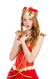 Princess wearing crown and red dress isolated on Royalty Free Stock Image