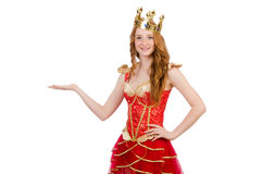 Princess wearing crown and red dress isolated on Royalty Free Stock Photography