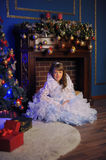 Princess in a white dress with blue next to the tree with a gift Royalty Free Stock Photos