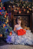 Princess in a white dress with blue next to the tree with a gift Royalty Free Stock Photography
