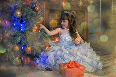 Princess in a white dress with blue next to the tree with a gift Stock Photography
