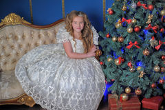 Princess in a white dress in Christmas Royalty Free Stock Image
