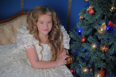 Princess in a white dress in Christmas Royalty Free Stock Photography